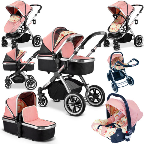 SALE!!! iVogue - Peach Luxury 3in1 Pram Stroller Travel System By iSafe (Complete With Carseat)