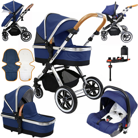 iVogue Royal Blue 3in1 Pram Stroller Travel System (Inc Carseat & Isofix Base)