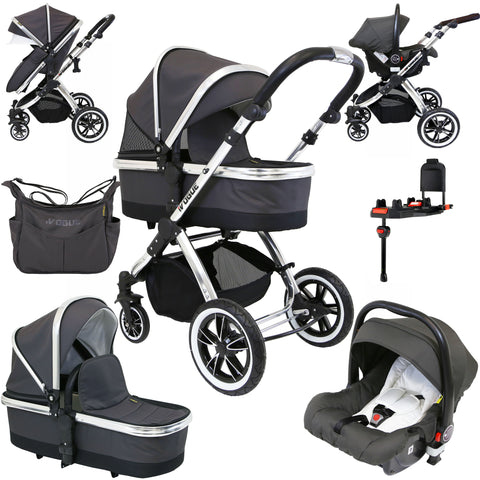 iVogue Silver Shadow 3in1 Pram Stroller Travel System (Inc. Car Seat & Isofix Base & Bag)