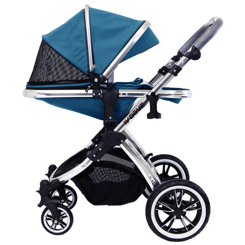 iVogue Teal 3 in 1 Pram System Includes (Changing Bag, Car Seat, Isofix Base, Parent Console)