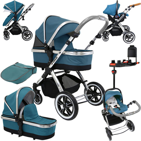 iVogue Teal 3 in 1 Pram System (Inc. Car Seat & Isofix Base)