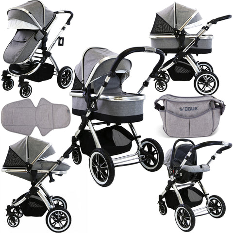 iVogue - Grey Luxury 3in1 Pram Stroller Travel System (Changing Bag + Car Seat Included)