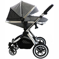 iVogue - Grey Luxury 3in1 Pram (Isofix Base + Changing Bag + Car Seat Included)