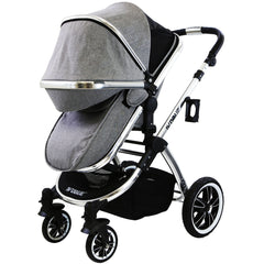 iVogue - Grey Luxury 3in1 Pram Stroller Travel System (Car Seat Included)