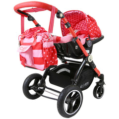 i-Safe System - Bow Dots Trio Travel System Pram & Luxury Stroller 3 in 1 Complete With Car Seat, Base, Bag, Bedding,Console Rain Covers & Foot Muffs - Baby Travel UK  - 34