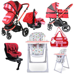 iSafe 3 in 1 Bow Dots Bundle + Group 0+1 Car Seat + High Chair + Changing Bag