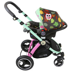 i-Safe System - Owl & Button Trio Travel System Pram & Luxury Stroller 3 in 1 Complete With Car Seat And Rain Covers & Foot Muffs - Baby Travel UK  - 11