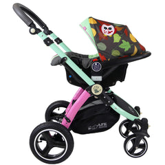 i-Safe System - Owl & Button Trio Travel System Pram & Luxury Stroller 3 in 1 Complete With Car Seat And Rain Covers & Foot Muffs - Baby Travel UK  - 14