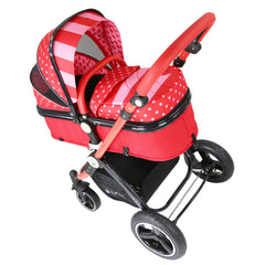 i-Safe System - Bow Dots Trio Travel System Pram & Luxury Stroller 3 in 1 Complete With Car Seat, Base, Bag, Bedding,Console Rain Covers & Foot Muffs - Baby Travel UK  - 9