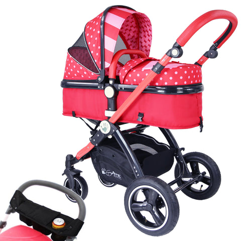 iSafe Baby Pram System 2in1 - Bow Dots Complete With Organiser & Rain Cover