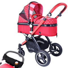 iSafe Baby Pram System 2in1 - Bow Dots Complete With Organiser & Rain Cover - Baby Travel UK  - 1