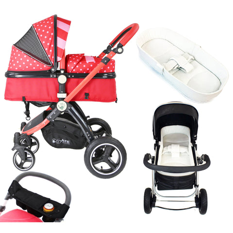 iSafe Baby Pram System 2in1 - Bow Dots Complete With Bedding, Orgainser & Rain Cover