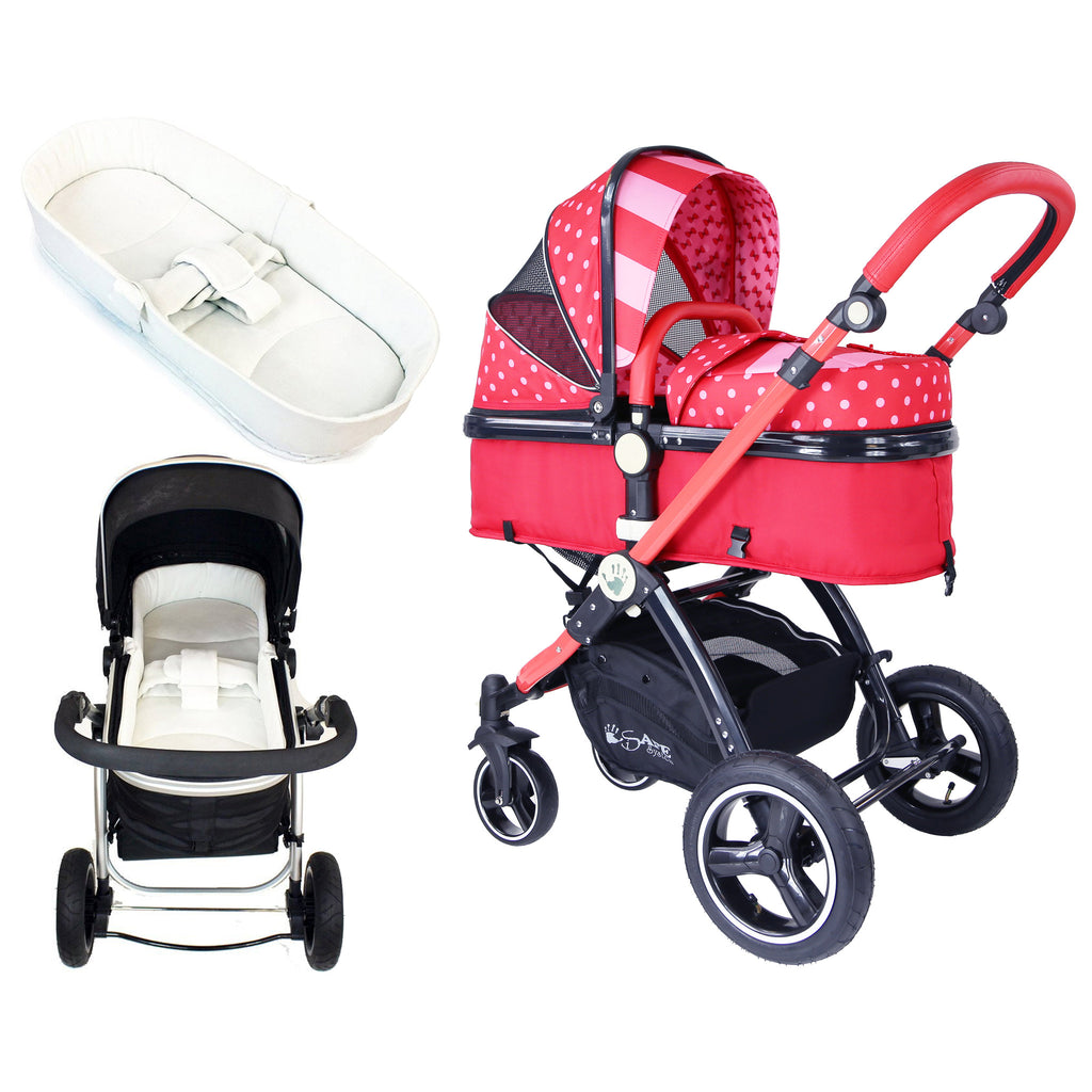 iSafe Baby Pram System 2in1 - Bow Dots Complete With Bedding & Rain Cover - Baby Travel UK  - 1