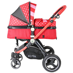 i-Safe System - Bow Dots Trio Travel System Pram & Luxury Stroller 3 in 1 Complete With Car Seat, Base, Bag, Bedding,Console Rain Covers & Foot Muffs - Baby Travel UK  - 10