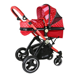 i-Safe System - Bow Dots Trio Travel System Pram & Luxury Stroller 3 in 1 Complete With Car Seat, Base, Bag, Bedding,Console Rain Covers & Foot Muffs - Baby Travel UK  - 8