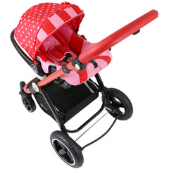 i-Safe System - Bow Dots Trio Travel System Pram & Luxury Stroller 3 in 1 Complete With Car Seat, Base, Bag, Bedding,Console Rain Covers & Foot Muffs - Baby Travel UK  - 11