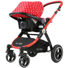 i-Safe System - Bow Dots Trio Travel System Pram & Luxury Stroller 3 in 1 Complete With Car Seat, Base, Bag, Bedding,Console Rain Covers & Foot Muffs - Baby Travel UK  - 12