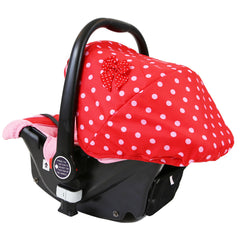 i-Safe System - Bow Dots Trio Travel System Pram & Luxury Stroller 3 in 1 Complete With Car Seat, Base, Bag, Bedding,Console Rain Covers & Foot Muffs - Baby Travel UK  - 13