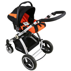i-Safe System - Orange Trio Travel System Pram & Luxury Stroller 3 in 1 Complete With Car Seat + Rain Covers - Baby Travel UK  - 13