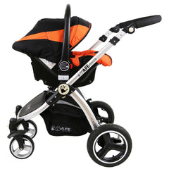 i-Safe System - Orange Trio Travel System Pram & Luxury Stroller 3 in 1 Complete With Car Seat + Rain Covers - Baby Travel UK  - 11