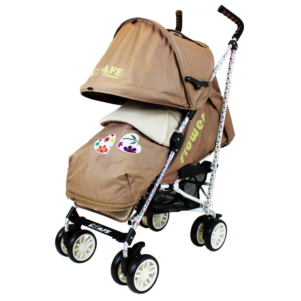 iSafe buggy Stroller Pushchair - Flowers (Complete With Footmuff, Bumper Bar & Rain cover) - Baby Travel UK  - 1