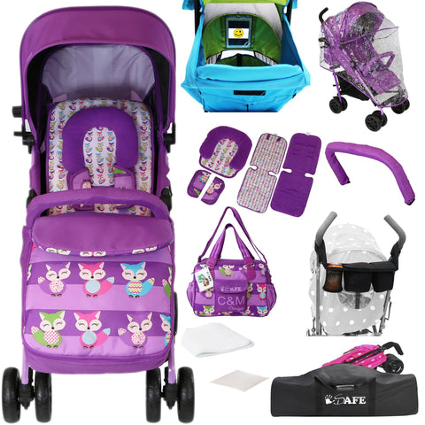 iSafe Optimum Baby Stroller Foxy With Changing Bag, Travel Bag, Parent Console