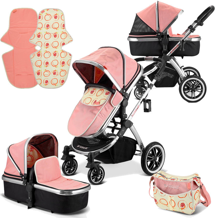 iVogue - Peach Luxury 2in1 Pram Stroller Travel System By iSafe (2017 - 2018) - Baby Travel UK  - 1