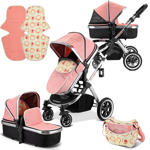 iVogue - Peach Luxury 2in1 Pram Stroller Travel System+ Changing Bag By iSafe (2017 - 2018)