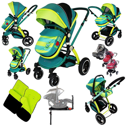 2019 iSafe 3 in 1 Pram Travel System LiL Friend Design + Isofix Base + Rain Covers + Footmuffs