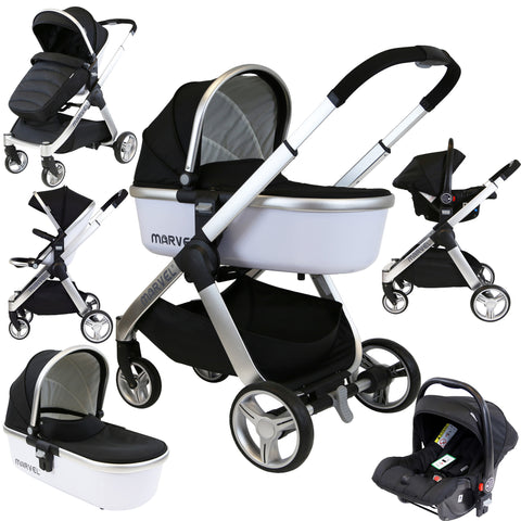 Marvel Combi 3in1 Travel System Pram Pushchair With Carrycot & Carseat Black