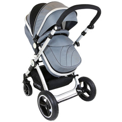 i-Safe System - Grey Trio Travel System Pram & Luxury Stroller 3 in 1 Complete With Car Seat + Footmuff + Carseat Footmuff + Rain Covers - Baby Travel UK  - 2