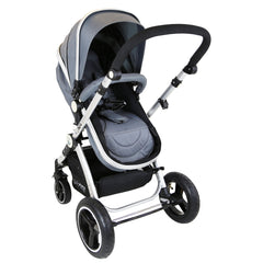 i-Safe System - Grey Trio Travel System Pram & Luxury Stroller 3 in 1 Complete With Car Seat + Footmuff + Carseat Footmuff + Rain Covers - Baby Travel UK  - 3