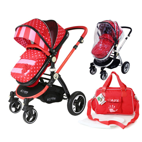 iSafe Baby Pram System 2in1 - Bow Dots Complete Bag & Rain Cover