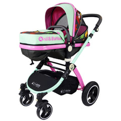 i-Safe System - Owl & Button Trio Travel System Pram & Luxury Stroller 3 in 1 Complete With Car Seat, Base, Bag, Rain Covers & Foot Muffs - Baby Travel UK  - 2