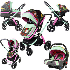 iSafe System - Owl & Button Trio Travel System Pram & Luxury Stroller 3 in 1 Complete With Car Seat - Baby Travel UK  - 1
