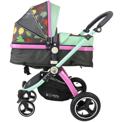 i-Safe System - Owl & Button Trio Travel System Pram & Luxury Stroller 3 in 1 Complete With Car Seat, Base, Bag, Rain Covers & Foot Muffs - Baby Travel UK  - 3