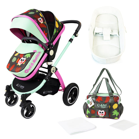 iSafe Baby Pram System 2in1 - Owl & Button Complete With Bag & Bedding