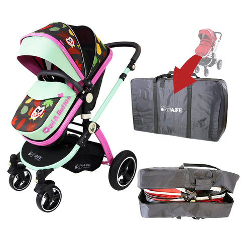 iSafe Baby Pram System 2in1 - Owl & Button Complete With Luggage Travel Bag