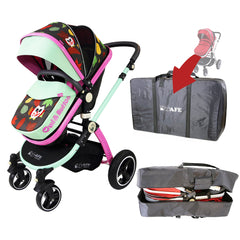 iSafe Baby Pram System 2in1 - Owl & Button Complete With Luggage Travel Bag - Baby Travel UK  - 1