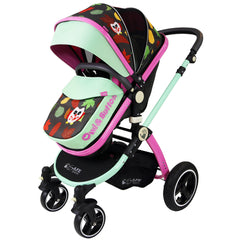 i-Safe System - Owl & Button Trio Travel System Pram & Luxury Stroller 3 in 1 Complete With Car Seat, Base, Bag, Rain Covers & Foot Muffs - Baby Travel UK  - 5