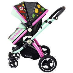 i-Safe System - Owl & Button Trio Travel System Pram & Luxury Stroller 3 in 1 Complete With Car Seat, Base, Bag, Rain Covers & Foot Muffs - Baby Travel UK  - 6