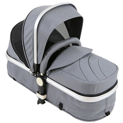 i-Safe System - Grey Trio Travel System Pram & Luxury Stroller 3 in 1 Complete With Car Seat + Rain Covers - Baby Travel UK  - 9