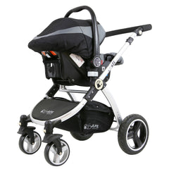 i-Safe System - Grey Trio Travel System Pram & Luxury Stroller 3 in 1 Complete With Car Seat + Footmuff + Carseat Footmuff + Rain Covers - Baby Travel UK  - 8