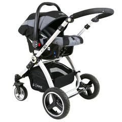 i-Safe System - Grey Trio Travel System Pram & Luxury Stroller 3 in 1 Complete With Car Seat + Rain Covers - Baby Travel UK  - 7