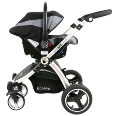 i-Safe System - Grey Trio Travel System Pram & Luxury Stroller 3 in 1 Complete With Car Seat + Footmuff + Carseat Footmuff + Rain Covers - Baby Travel UK  - 11