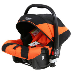 i-Safe System - Orange Trio Travel System Pram & Luxury Stroller 3 in 1 Complete With Car Seat + Rain Covers - Baby Travel UK  - 4