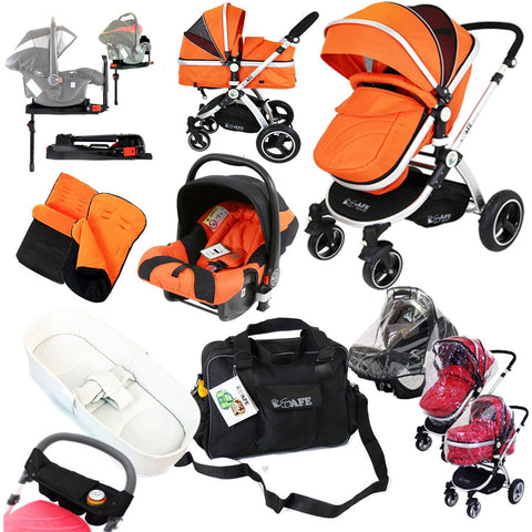i-Safe Complete Trio Travel System Pram & Luxury Stroller Orange