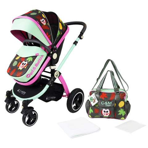 iSafe Baby Pram System 2in1 - Owl & Button Complete With Bag