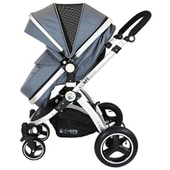 i-Safe System - Grey Trio Travel System Pram & Luxury Stroller 3 in 1 Complete With Car Seat + Footmuff + Carseat Footmuff + Rain Covers - Baby Travel UK  - 6