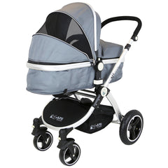 i-Safe System - Grey Trio Travel System Pram & Luxury Stroller 3 in 1 Complete With Car Seat + Footmuff + Carseat Footmuff + Rain Covers - Baby Travel UK  - 4